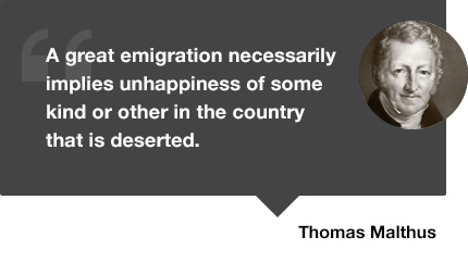 malthus quote emigration
