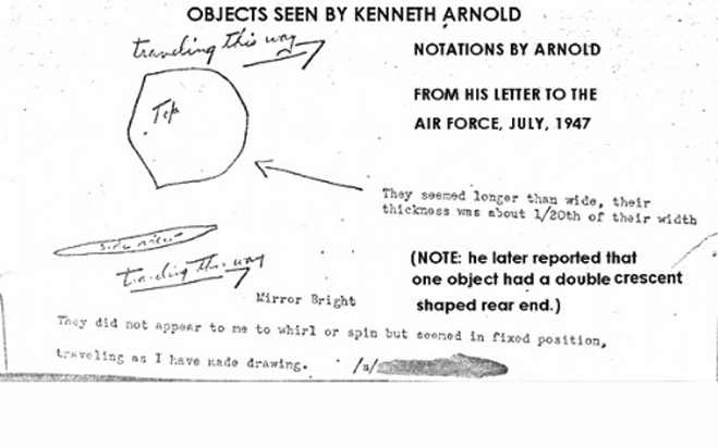 kenneth arnold ufo diagram